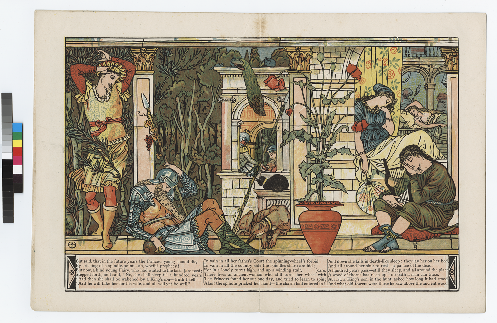 """The image is an illustration of a scene in The Sleeping Beauty in the Wood.                  The image is set in a Romanesque setting, with heavy green foliage, and a potted                  poppy plant, which is symbolic of the sleeping characters. The image is of the                  prince entering on the left side, while three human figures, a cat, and a dog are                  all sleeping in the foreground. There are two sleeping figures in the centre                  background. The Sleeping Beauty is on the right side of the image in the                  background, and behind her are two sleeping watchers. The image is displayed                  horizontally. Transcription: But said, that in the future years the Princess young                  should die, 