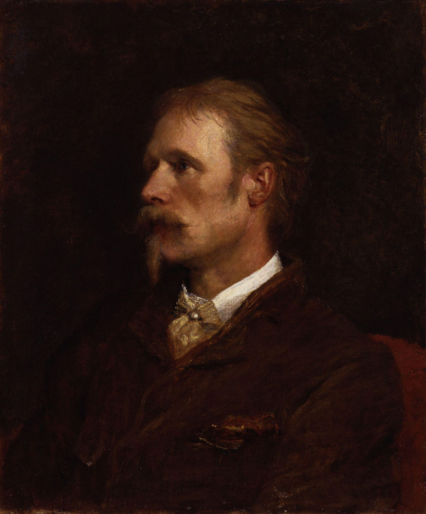 Walter Crane is shown sitting on a dark maroon chair from the middle of his chest up, his face turned towards the left of the image, eyes also turned towards the left. He is wearing a dark brown blazer with a brown handkerchief folded into his left breast pocket, as well as a golden hued cravat fixed with a pearl pin in the centre, under a white collared shirt. The background is dark-coloured.