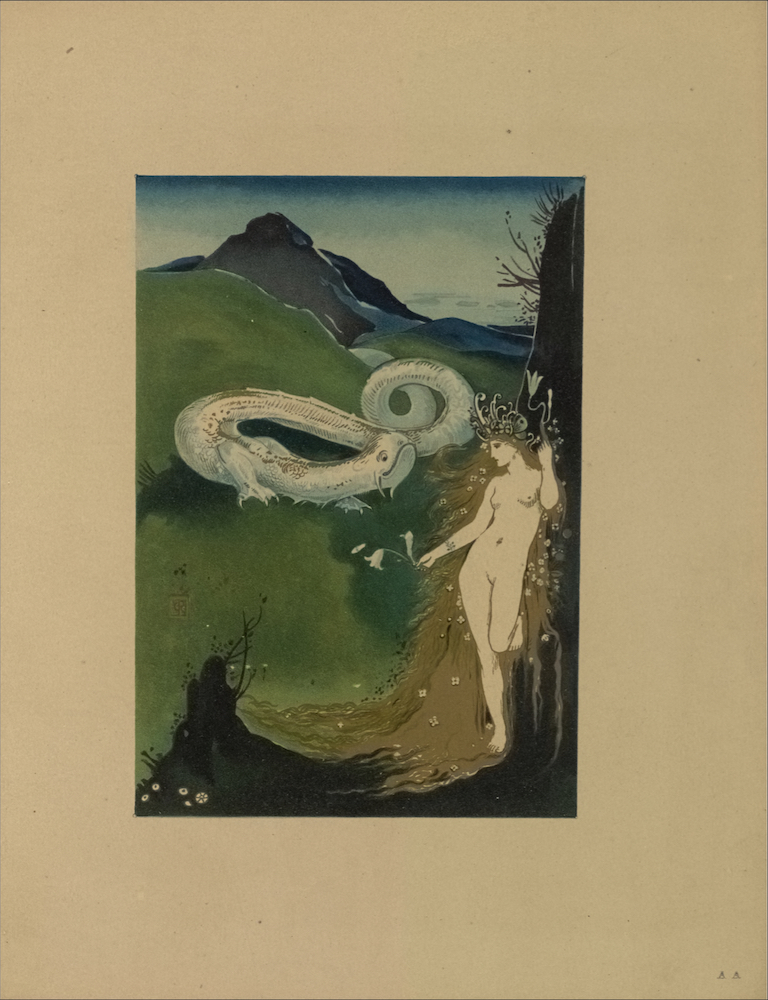 "The coloured lithograph is in portrait orientation and is centered on the page. In the centre foreground, a sinuous dragon or worm, which appears to be emerging from the clefts of the green and blue mountains in the background, faces a nude white woman, positioned frontally in the right foreground. The worm has white scales, two short clawed legs which protrude from its sides, and a long swirling tail which spirals back into the clefts of the mountains. The worm's head is turned to look at the woman in profile. The worm's face in profile shows one large eye close to the top of its head, two small nostrils, and a wide mouth which is closed, but appears to be smiling. The woman in the right foreground is standing, leaning against a black cliff or rock, with one leg bent behind her. Her face is slightly turned to the left so that only her profile is visible. The woman has long blonde hair that is decorated with small flower heads and falls behind her, reaching past her feet. She is wearing a fantastic crown/headpiece above her forehead made from curling flower sprouts or worms. The woman's right arm is stretched out, holding a spray of three white lilies. The woman's left arm is bent upwards, aligned with her breast, and holds two white lilies above her head. The black cliff on which the woman leans occupies the right bottom and side of the image. Branches and various plant life protrude from the top of the rock cliff and the bottom left elevation of the cliff. The background sky in the illustration changes from a light to dark blue gradient moving upwards. A few small clouds are depicted in the right background of the sky. The capital initials ""CR"" appear in the lighter-green base of the mountain on the bottom left."