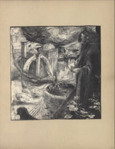 """The illustration is a black and white etching in portrait orientation and is centered on the page. In the left foreground, a large figure is standing in profile atop a parapet. His head is positioned downward as he is overlooking a city. The figure's hair is long and dark and appears studded with pearls. He is wearing a large, dark robe which drapes loosely over his body. His left hand holds a flower (lily), and his right hand is raised to his chin in a meditative position. At the foot of the figure, there are leaves, petals, and small flowers. Below the parapet is a round, wooden turret with men working a canon. In the right foreground, across the turret at ground level, is a pillared tower with two dome rooftops and a connected series of structures. A large dragon/worm is entangled around the shortest pillar of the tower and the structures behind it. In the leftmost foreground is the head of a black bird looking downwards. There appears to be a storm forming a concave shape of clouds in the upper background. The initials """"CR"""" are etched in a small rectangular box in the lower centre of the illustration."""