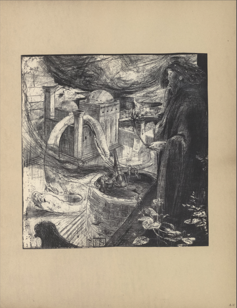 "The illustration is a black and white etching in portrait orientation and is centered on the page. In the left foreground, a large figure is standing in profile atop a parapet. His head is positioned downward as he is overlooking a city. The figure's hair is long and dark and appears studded with pearls. He is wearing a large, dark robe which drapes loosely over his body. His left hand holds a flower (lily), and his right hand is raised to his chin in a meditative position. At the foot of the figure, there are leaves, petals, and small flowers. Below the parapet is a round, wooden turret with men working a canon. In the right foreground, across the turret at ground level, is a pillared tower with two dome rooftops and a connected series of structures. A large dragon/worm is entangled around the shortest pillar of the tower and the structures behind it. In the leftmost foreground is the head of a black bird looking downwards. There appears to be a storm forming a concave shape of clouds in the upper background. The initials ""CR"" are etched in a small rectangular box in the lower centre of the illustration."