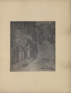 """The illustration is in portrait orientation and is centered on the page. The illustration depicts a wooden bridge or portico with wooden railings leading to the entrance of a dark castle. It is occupied by various groups of people. In the left foreground, a woman is leaning back against a wooden fence which borders the bridge. Her head is slightly turned to the left, but she is looking downwards and to the right. Her right arm is held upwards, shielding the left side of her face, and her left arm is rested on the wooden fence. She has dark hair and is wearing a dual patterned dress/robe, a lightly coloured shawl, and a circular headpiece/possibly a halo. At her feet is a basket with fallen roses. A man is standing to the right of the woman. The right side of his body is leaning on the wooden fence and he is facing the woman. He is reaching out to the woman, but she appears to be resisting him. The man is dressed in a dark robe atop white tunic with an eagle insignia on his breast. He is also wearing a dark belt, metallic boots, and a metallic helmet which shields most of his head and leaves only his face exposed. In the right foreground, there is an area of rubble or cobblestone in front of the entrance to the bridge. On top of the bridge, beside and behind this pair, are various people crossing. There is a young girl with long dark hair who is slouching forward. She is dressed in a short-sleeved dress, and she is carrying a pail. In front of her, a group of four men appear to be chatting. Three of the men are dressed in dark robes and headpieces, and the remaining man in back is dressed in a white robe. Further along the bridge there are soldiers likely guarding the entrance to the castle. In the background, there are various housing structures with tall chimneys, giving the appearance of a city or town beyond the bridge. The capital initials """"RS"""" and the engraved in the bottom right region of the illustration."""