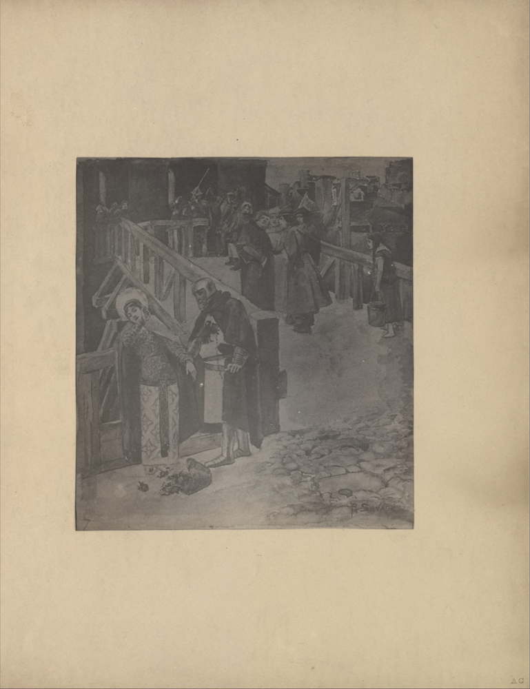 "The illustration is in portrait orientation and is centered on the page. The illustration depicts a wooden bridge or portico with wooden railings leading to the entrance of a dark castle. It is occupied by various groups of people. In the left foreground, a woman is leaning back against a wooden fence which borders the bridge. Her head is slightly turned to the left, but she is looking downwards and to the right. Her right arm is held upwards, shielding the left side of her face, and her left arm is rested on the wooden fence. She has dark hair and is wearing a dual patterned dress/robe, a lightly coloured shawl, and a circular headpiece/possibly a halo. At her feet is a basket with fallen roses. A man is standing to the right of the woman. The right side of his body is leaning on the wooden fence and he is facing the woman. He is reaching out to the woman, but she appears to be resisting him. The man is dressed in a dark robe atop white tunic with an eagle insignia on his breast. He is also wearing a dark belt, metallic boots, and a metallic helmet which shields most of his head and leaves only his face exposed. In the right foreground, there is an area of rubble or cobblestone in front of the entrance to the bridge. On top of the bridge, beside and behind this pair, are various people crossing. There is a young girl with long dark hair who is slouching forward. She is dressed in a short-sleeved dress, and she is carrying a pail. In front of her, a group of four men appear to be chatting. Three of the men are dressed in dark robes and headpieces, and the remaining man in back is dressed in a white robe. Further along the bridge there are soldiers likely guarding the entrance to the castle. In the background, there are various housing structures with tall chimneys, giving the appearance of a city or town beyond the bridge. The capital initials ""RS"" and the engraved in the bottom right region of the illustration."
