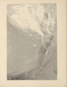 "The illustration is in portrait orientation and is centered on the page. An angel in female form descends in profile from the top left region of the illustration down through the right centre. She has long, flowing hair, is studded with stars around her body, and radiates white light. Her right arm is outstretched around the waist of the lifeless child dressed in dark, ragged clothing in front of her. An explosion of light radiates out from the child's outstretched open left palm. Beneath the child is a wave of darker light(?) and three studded stars. The initials ""CHS"" are etched in a small rectangular box positioned in the bottom right corner of the illustration."
