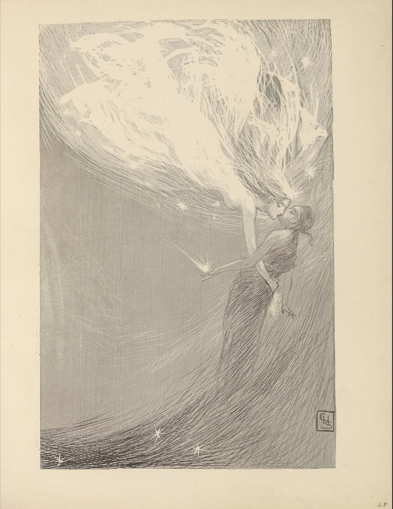 """The illustration is in portrait orientation and is centered on the page. An angel in female form descends in profile from the top left region of the illustration down through the right centre. She has long, flowing hair, is studded with stars around her body, and radiates white light. Her right arm is outstretched around the waist of the lifeless child dressed in dark, ragged clothing in front of her. An explosion of light radiates out from the child's outstretched open left palm. Beneath the child is a wave of darker light(?) and three studded stars. The initials """"CHS"""" are etched in a small rectangular box positioned in the bottom right corner of the illustration."""