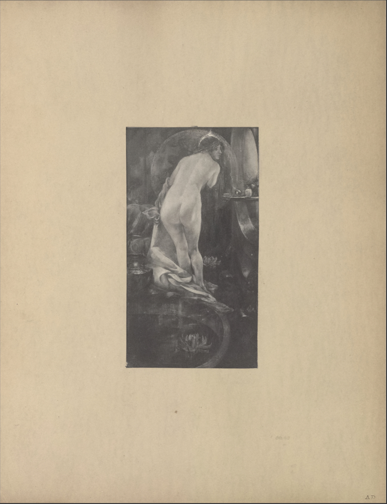 The illustration is in portrait orientation and is centered on the page. The illustration depicts a woman undressing before a mirror. The woman is leaning to the right, knees are slightly bent, her back is facing forward, and her head is turned in profile looking right. Her hair is dark and swept away from the back of her head. The woman is fully unclothed except for the large garment which is slipping off her left forearm and drapes down alongside her feet. The woman's right arm is bent and tucked into her chest. To her right is a large circular mirror. Two small bottles (of perfume?) sit atop a small ledge protruding from the wall with the mirror. Behind the woman is a pool or a bathtub. A dark vase sits on the ledge of the pool/bath and a lotus flower floats in the water. More lotus flowers are depicted at the woman's feet and beneath the mirror on the right wall. A ring of mist? a large halo? surrounds the woman.