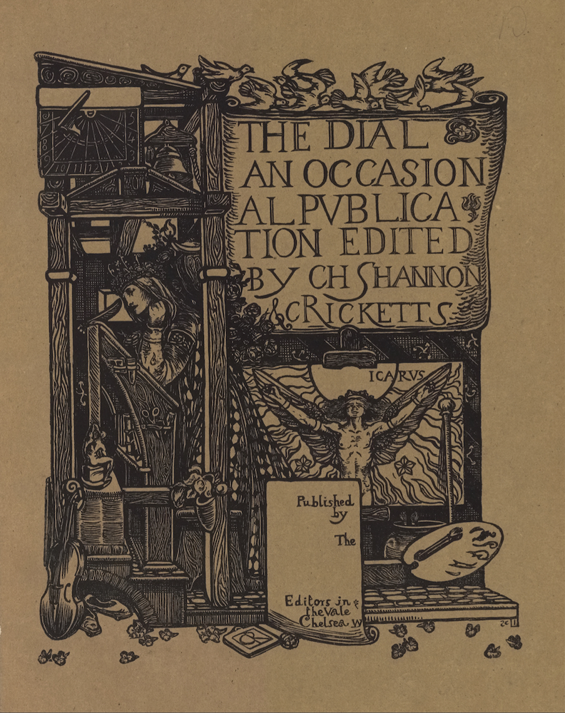 """The image is printed in black ink on buff coloured paper. It is centered in portrait orientation on the page. In the upper right region of the image, a large scroll or cartouche displaying the text """"The Dial: An Occasional Publication Edited by CH Shannon & C Ricketts"""" in large capital letters is positioned on a tall structure made from wooden cross beams. Ten white doves appear to be flying above in both directions to land on the top beam of the structure. Below the large scroll is a sheaf of roses and a labelled image of Icarus, naked , with his arms outstretched beside him to hold up his wings. Icarus is standing in front of the sun and is surrounded by flames and various scattered flowers. A framed box is below the Icarus iconography displaying the publishing information: """"Published by the Editors in The Vale Chelsea W."""" The artitst's initials """"CR"""" appear centered below the box, set within a book. To the right of this box is an artist's palette with one brush and a jar with two sprouting plants. In the upper left portion of the image, a sundial and a bell are displayed underneath the lectern-style roof of the structure on the left side, adjacent with the first two lines of text on the scroll. Below them is an open room built in the confines of the wooden cross beams. A woman with a crowned headpiece, long hair, and an ornamented robe, is standing in left profile in the open room. She appears to be leaning against a tall writing desk/prayer stand/ art desk, which is also depicted in profile. The woman's left arm is bent and rested on the desk and raised beneath her chin. Her right arm is rested up against the desk and she appears to be holding a quill pen with her right hand. The side of the desk contains artisanal instruments such as scissors and engravers. A small grotesque supports one of the legs of the desk at left. Below this pedestal is leaninga violin and a pair of slippers. Scattered across the whole bottom border of the image are leaves or flower petals"""
