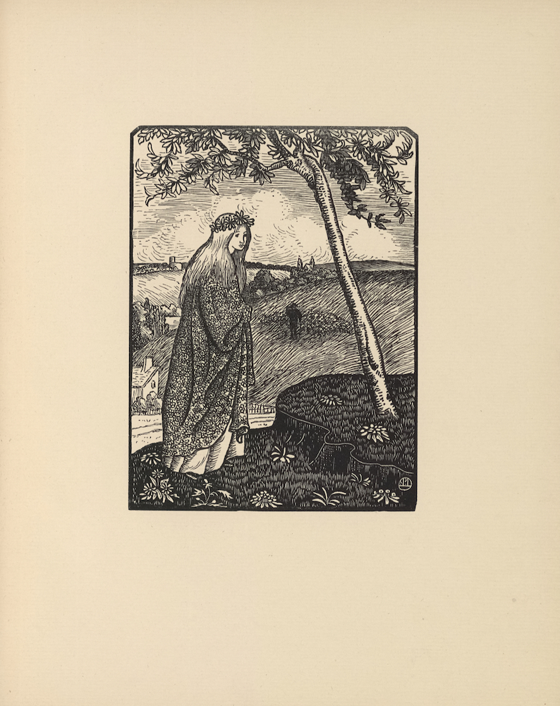 The illustration is black and white, in portrait orientation, and is centered on the page. In the foreground, a young girl with light long hair stands on a grassy hillside meadow. She is positioned in three-quarter profile facing right. She is wearing a garland on her head made from daisies and a heavy floral-patterned robe. At the young girl's feet are eight flowers. To her right is a small raised plateau with two clumps of flowers and a single tree, which leans left toward the girl. The leaves of the tree spread across the upper portion of the illustration. In the background are hills, a few buildings with chimneys, and forests in the distance. A dark figure with a hat, likely a farmer or shepherd, is depicted on the hill directly behind and below the young girl. He stands with his right hand on his brow and his left down beside him carrying a stick or perhaps a staff. The figure also appears to be surrounded by moving objects (possibly sheep or cattle). The illustration is marked with a small circle with two vertical lines and one horizontal line.