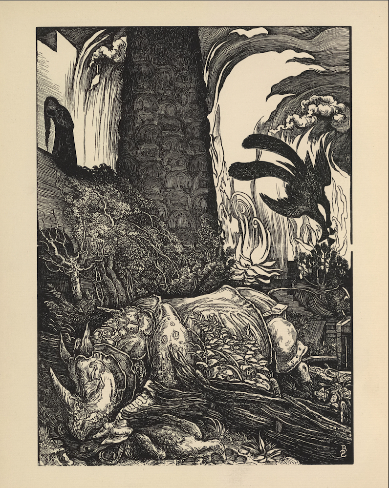 """The illustration is black and white, in portrait orientation, and is centered on the page. A large rhinoceros-type creature with scales, ornaments and decorative fabrics on its body, and three tusks on its head (Behemoth) occupies the extreme foreground of the illustration. It is stretched out over a sward of grass, flowers, and branches, and with its forehoof, is holding down the body of a dead peacock (or possibly a phoenix/ firebird?). The Behemoth itself also appears to be dying. Behind the rhinoceros, in the left middle-ground of the illustration, is a group of trees in front of a parapet which appears to be connected to a tall tower. A woman with dark hair draped down to her feet, dressed in a dark robe, stands on the parapet holding an unidentifiable object (likely head or box it is contained in). White castle walls are visible behind the woman. In the right background, there are towering flames and smoke clouds. They swirl inwards toward the right. Descending from the fire is a large dark-feathered bird (possibly a phoenix). The artist's initials """"RS"""" are engraved in caps in the bottom right corner of the image."""