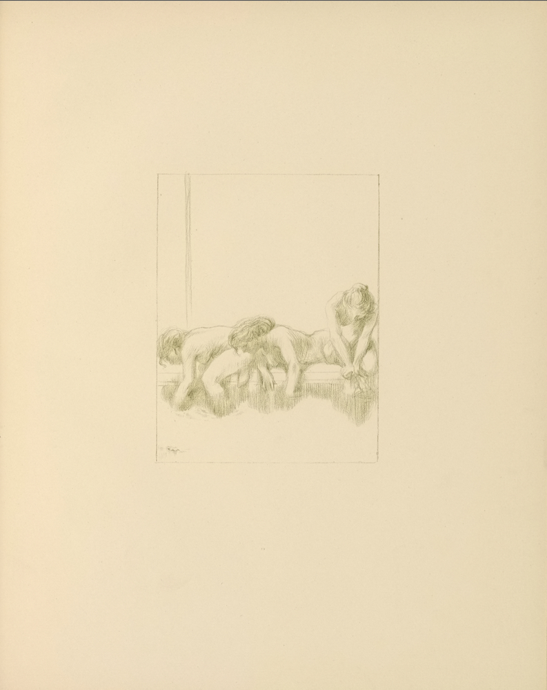 The light brown/light green image is in portrait orientation and is centered on the page. The illustration features three naked women, each with their hair tied behind them, positioned on the ledge of a pool of water. The woman on the left is sitting on the edge of the bath in left profile. Her left forearm and left lower leg are in the water. Her right arm is not depicted, and her right leg is tucked underneath her. The woman in the middle is lying sideways on the edge of the bath, facing slightly left. Most of her upper body is visible. Both of her hands are in the bath water. The woman on the right is kneeling on the edge of the bath. Her body is positioned forward, but she is looking down. Her hands are clasped together in front of her above the water, possibly holding a piece of cloth. The water is in the extreme foreground.