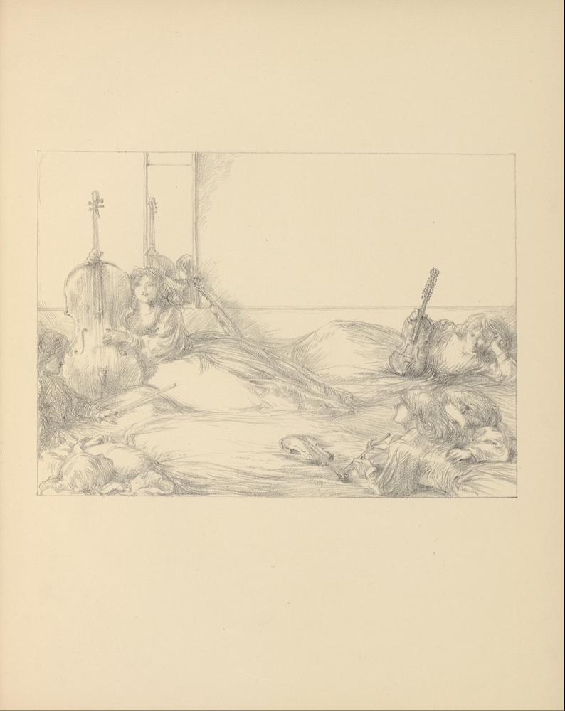 The soft brown/grey image is in portrait orientation and is centered on the page. The image depicts a group of seven women in various poses. In the left foreground, a woman is lying down on her back with her arms bent and tucked behind her head. The woman beside her is sitting upright in profile with her legs crossed, holding a flute in her left hand. The woman behind her is sitting upright, facing forward, and is playing a cello or viol. In the right foreground, two women lie on their stomachs with their upper bodies propped up, facing the woman playing the cello. One of them holds a flute. There is a violin in front of them. To their right, a woman is lying on her side, facing forward, also with her head propped up with her left hand. She holds a viola with her right hand and rests it upright against her hips. In the background behind the women there is a wall with a mirror on a door.