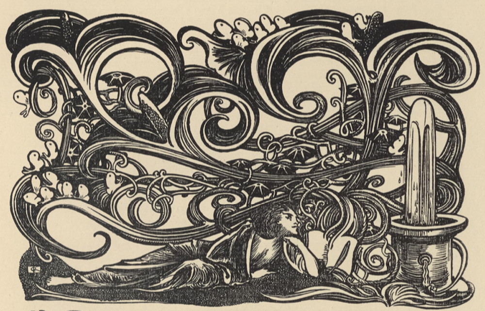 "Figure 2. Wood-engraved headpiece by Charles Ricketts for ""The Unwritten Book"""