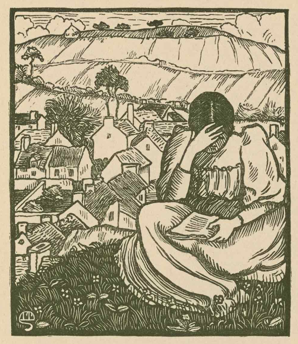 The black-and-white woodcut is centred on the page within a heavy black rectangular border.                          In the foreground is a dark-haired woman seated on a hill, reading. She holds a book in her lap                          with her left hand while her right hand supports her forehead as she looks down upon the page.                          She's wearing a plain dress with a ruffled collar and puffed sleeves. She's seated upon a grassy                          knoll scattered with flowers. Behind and below the figure is a rural village made up of small                          buildings with white walls and dark rooftops with chimneys. In the background, beyond the village,                          is a terraced hill occasionally interspersed with trees and clouds behind. On the furthest hill '                         sits a solitary barn.