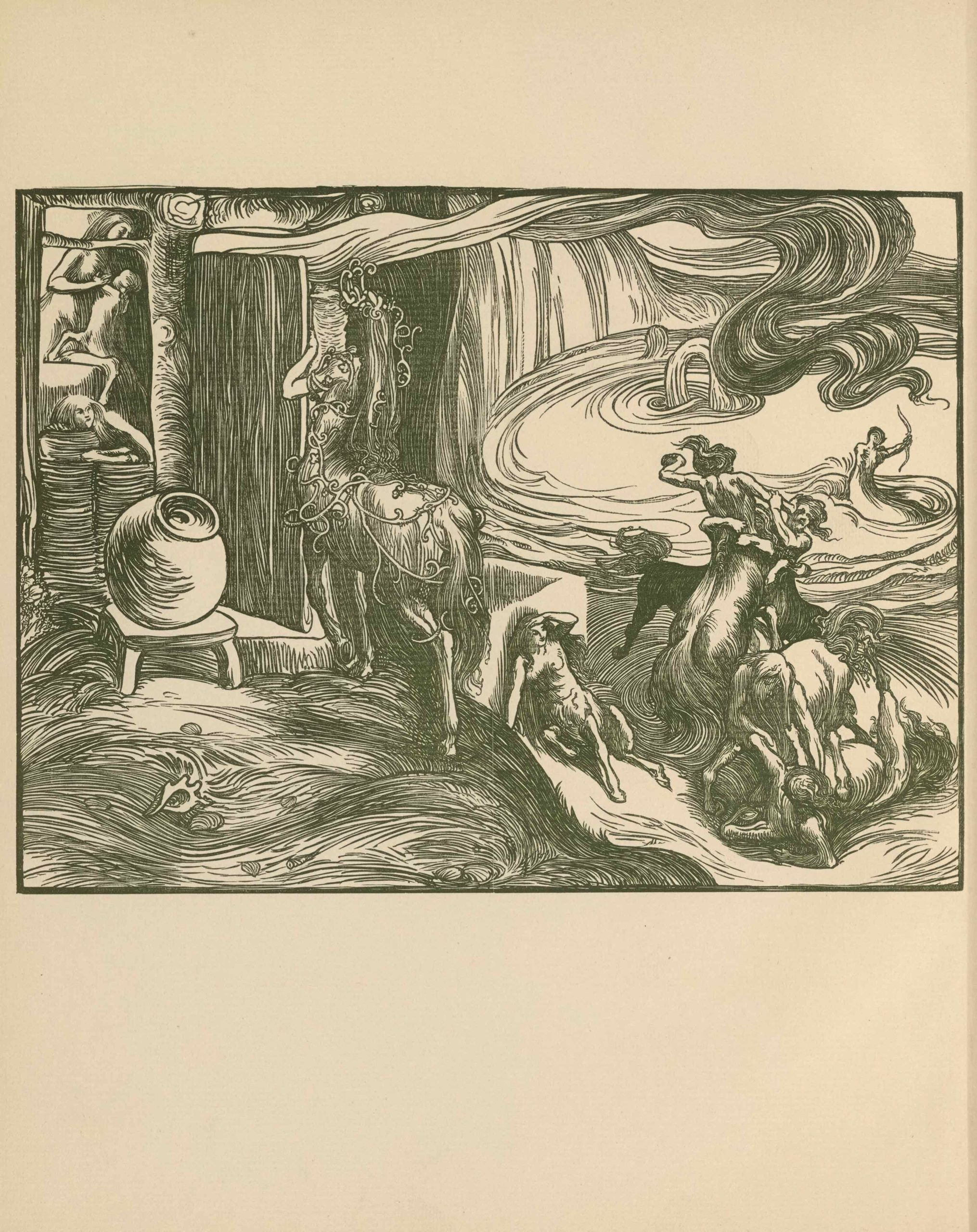 The wood-engraved image is set into a square, ruled border, printed, as is the                          image, in dark green ink. The image depicts an imaginary scene by a grotto and waterfall,                          where centaurs of various ages and sexes go about their daily life. The viewing position                          is somewhat above, looking down. The left half of the picture shows a crude home for the                          centaurs and the right half of the picture shows the landscape in which they live. In the                          centre foreground, a female centaur stands with her back to the viewer; she appears about                          to enter the wooden building. She has long hair and wears a vine-like headdress that extends                          down her body, entangling her tail and hind legs. She stands in front of the open doorway,                          holding a wooden doorframe in front of her to the right. Her shadowed face is in profile.                          In the interior of the building, in the extreme left, is a female centaur suckling an infant                          centaur while another child centaur leans on several urns. Between these centaurs and the                          centaur wearing the headdress is a large round urn resting on a stool. Behind the urn a tree                          that appears to be a supporting beam for the building extends up to the top of the frame,                          with branches that span to the left and right. In front of the urn is a grassy sward,                          extending to the right half of the image. In the right foreground four male centaurs engage                          in wrestling in front of a pool, where other centaurs are swimming, one of which is holding                          an archer's bow. Behind the pool, a waterfall is depicted. A female centaur rests against a                          wall structure observing the wrestling. In the