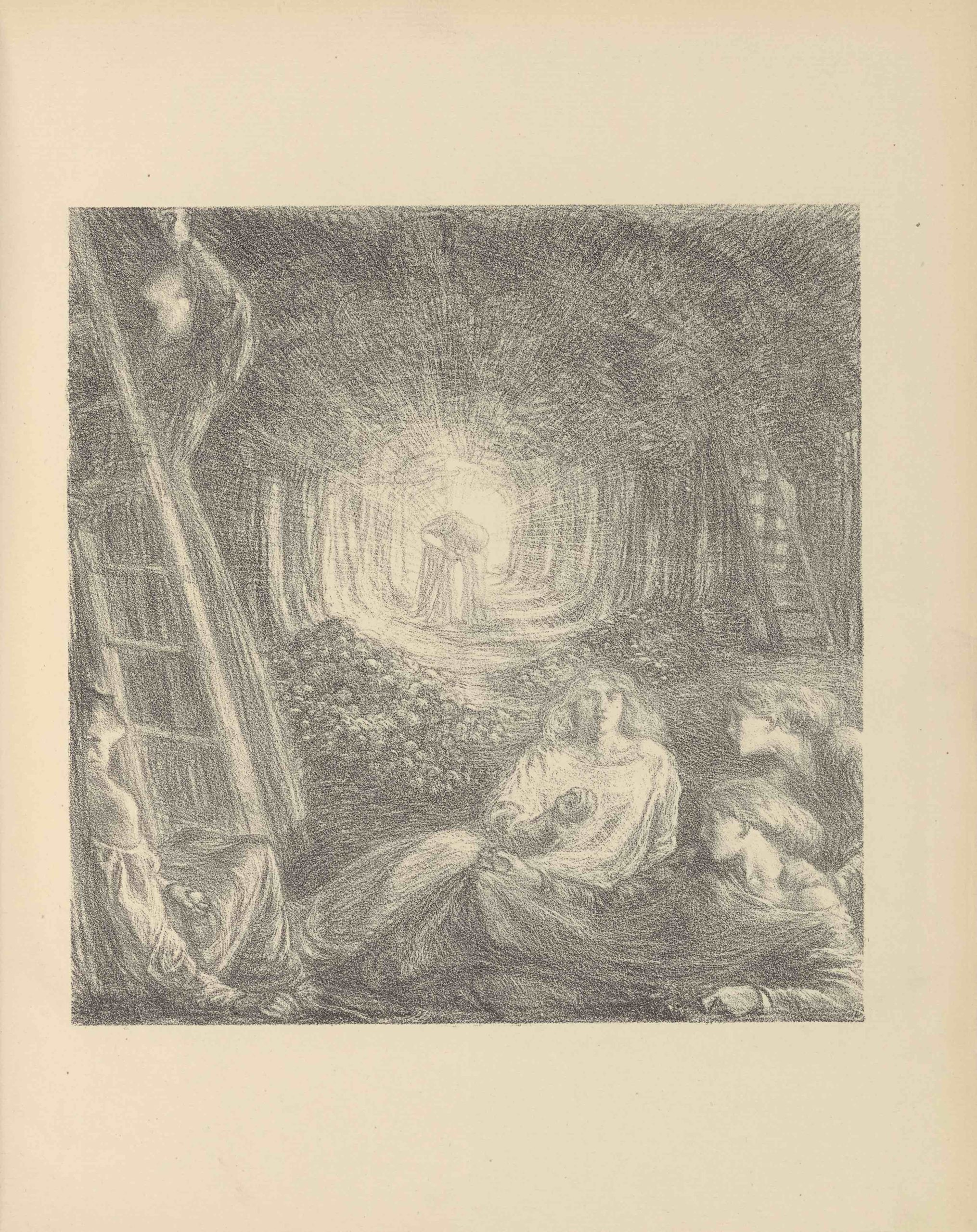 The lithographic image is set into a square on the centre of the page. The image, printed in soft grey tones,                          depicts a scene of apple gatherers in an orchard. In the foreground of the image four women recline in supine postures,                          two of them holding apples. The woman in the centre foreground is looking at the viewer, while the others are in                          profile. On the left, just behind the supine women, a woman stands on a ladder reaching up to pluck a fruit that is out                          of view above the picture plane. Behind the group of figures are piles of apples on the ground. In the centre of the                          image, dominating the middle-ground. In the background, illuminated in the centre of the orchard, is a pair embracing.                          They are in silhouette, surrounded by trees, and from behind them originates a burst of light that extends out towards                          the viewer, creating a tunnel of light between the rows of trees.