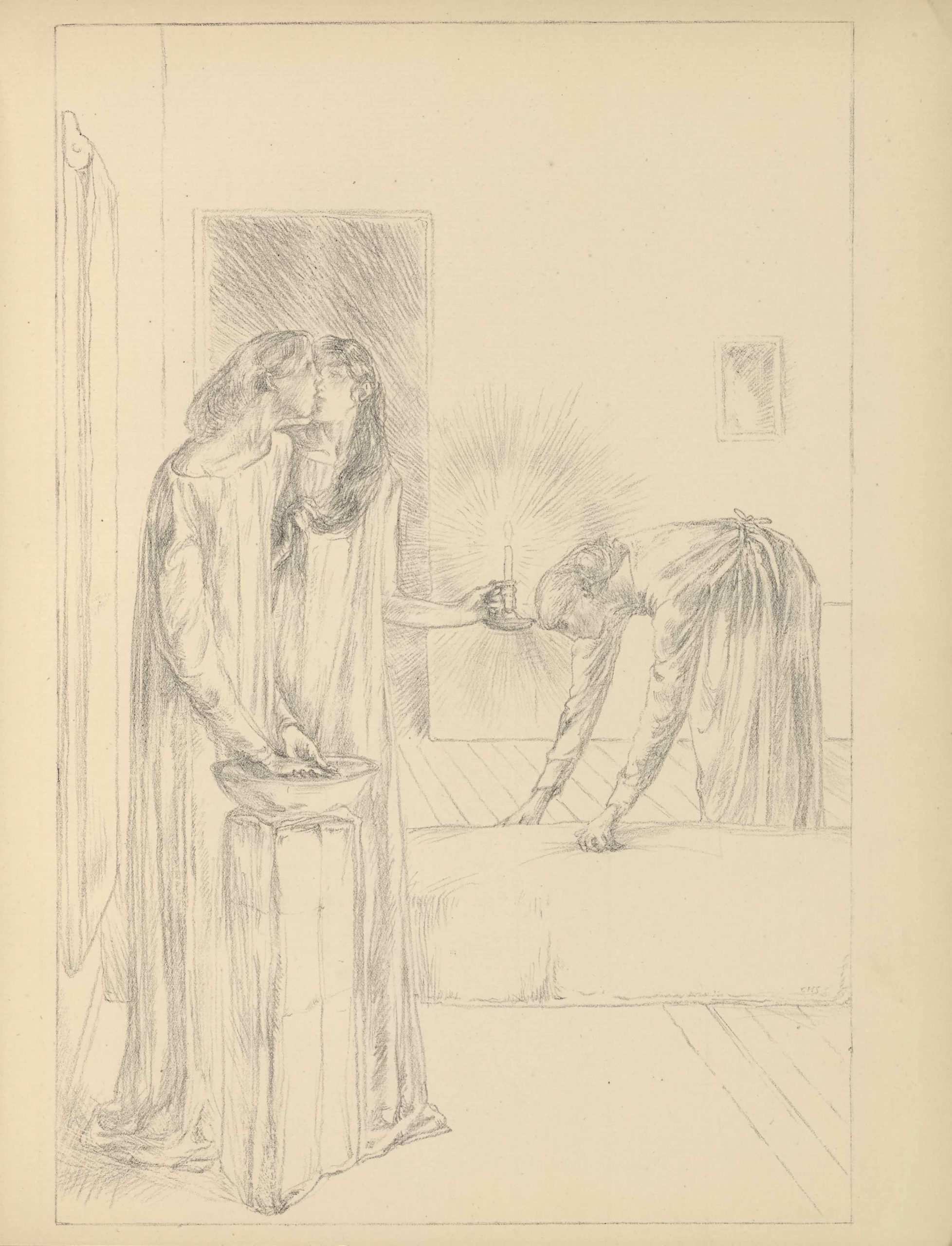 The lithographic image is set into a thinly-lined rectangle on the centre of the page.                          The image, represented in soft grey tones, shows a view into a bedroom in which three women                          are preparing for night. In the left foreground stand two women in long nightdresses in front                          of an open doorway beside a curtained window on the leftmost wall of the room. They stand in front                          of a wash basin set upon a draped stone pillar. The leftmost woman is positioned in three-quarter                          posture, washing her hands in the basin as she turns to kiss the woman beside her. Her hair is bound                          on the back of her neck and her night dress slips off of her right shoulder. The women face each                          other as they kiss. The woman beside her has long hair hanging down her front which she clasps in                          her right hand. Her left hand holds a flaming candlestick out to her left. The candlestick is                          centred in the image and its light radiates outwards. Nearby, in the middle ground and centre right,                          a woman wearing an apron with her hair in a snood bends over at 90 degrees to make up a bed or mattress                          on the ground. The bed is between the pair of women in the foreground and the woman in the                          middle ground. The floor is composed of diagonal planks of wood. On the wall above the woman making the                          bed is a framed mirror that catches and radiates the candle's light.