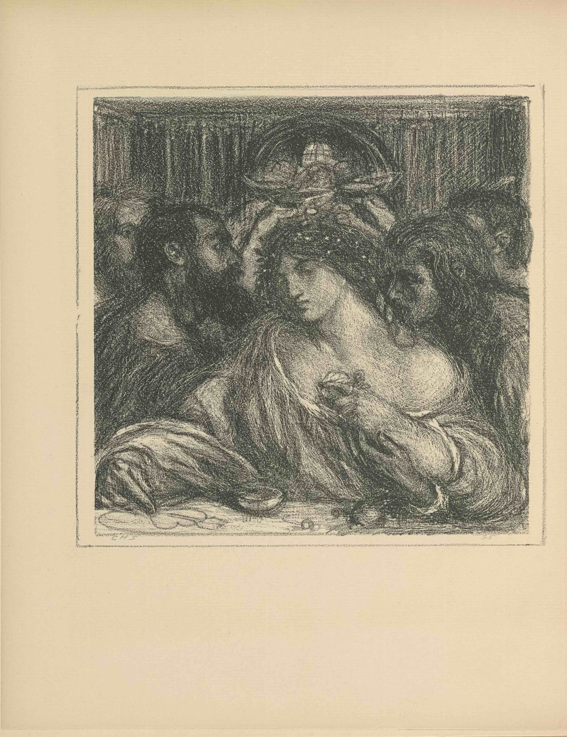 The square lithographic image is framed within a thinly-lined double border, rendered in tones of black. The image is an illustration of Delia, from the poems of Tibullus. In the foreground, Delia is seated at a table eating, facing the viewer. She wears a ring on the index finger of her left hand, which holds a fruit up to her chest. With her right hand she draws a heart with an arrow through it on the table. She wears white flowers in her hair. Her loose-fitting robes fall off of her left shoulder, where a man, Albius Tiuillus, leans in profile to kiss the nape of her neck. Three men in the background crowd the frame on either side, each lifting cups to toast each other in the upper centre of the frame. In the background a rounded doorway is shown on the far wall, around the dark walls of the room are visible.