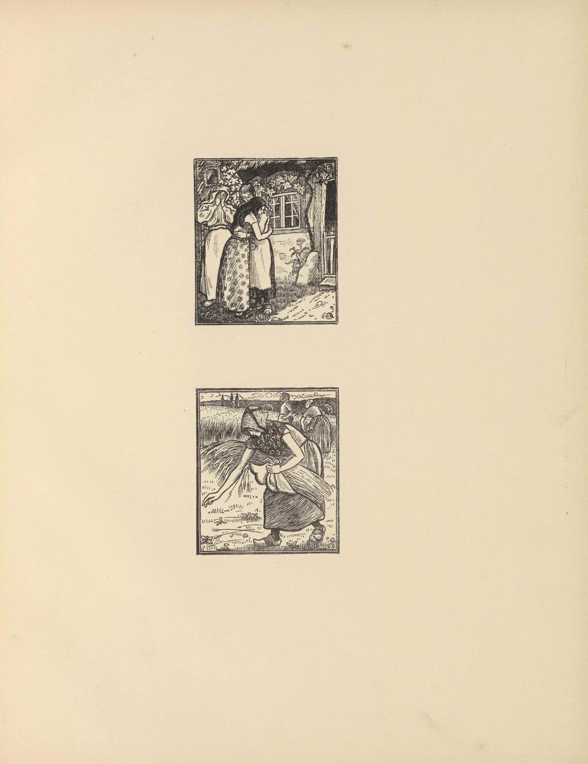 "The two small woodcuts appear in portrait orientation, centered vertically on the page, each within a double-lined border. The rectangular images, printed in black ink, depict scenes from the Biblical story of Ruth and Naomi. The top image shows three female figures, in Breton dress, standing in front of a building. In the centre foreground, dark-haired Ruth, wearing a floral dress, embraces the older-looking Naomi, who wears an apron and clogs. Just behind them, to their left, Orpah holds her hands to her face, appearing to weep. She too, wears clogs, as well as a scarf over her hair and shoulders. The house behind them has casement windows and a thatched roof. On the right, ivy and a flowering plant emerge out of a crack in the wall to cover the house. On the extreme right, an open doorway reveals the house's darkened interior. The second image is an extreme close-up of Ruth gleaning fallen wheat in a field. She bends forward, facing left, in the centre foreground. Her face, shadowed by a bonnet with dark ribbons crossed over the crown, is in profile. She wears clogs and a floral blouse as she bends, right arm outstretched, to pick up stray wheat strands. With her left hand, she holds a bundle of wheat in her apron. Behind her, in the middleground, two women in similar dress stand in the field. More fields stretch into the distance, punctuated by three trees on the left. In the distance, clouds roll in from the left. Both images have a stylized monogram of the artist's initials in the bottom right corner; a capital ""L"" and capital ""P,"" rotated 90 degrees to the left, are surrounded by a circle."