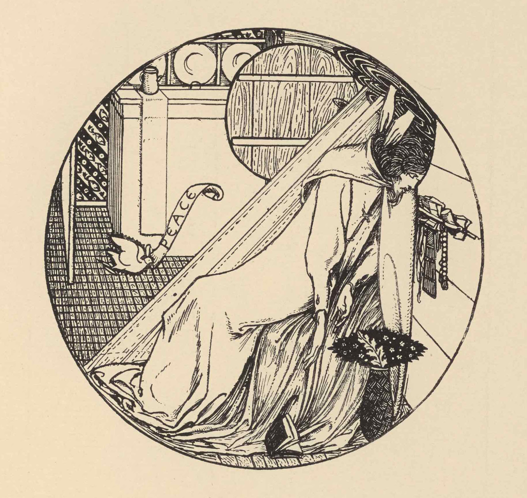 The reproduction of a pen design is printed in black ink, in an outlined roundel shape. It depicts the interior of a room, in which King James sits in a trance-like state.
