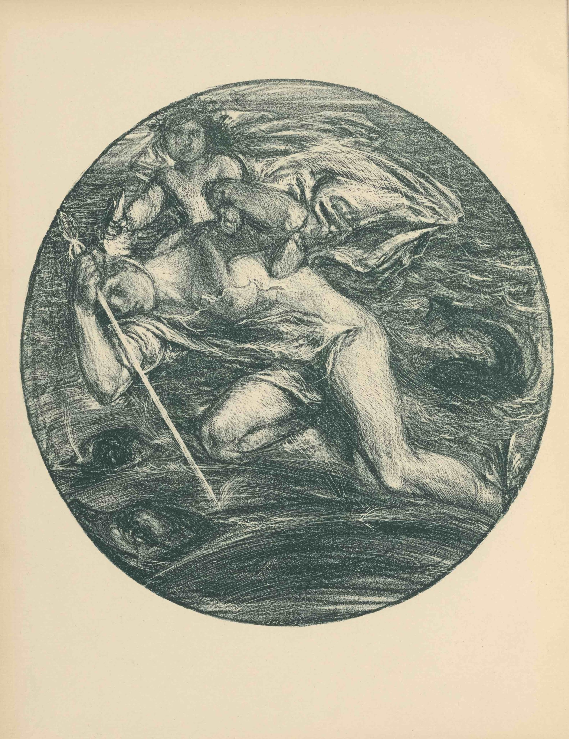 This lithograph is printed in dark blue ink in a roundel shape, with a border. The image depicts two mythological figures, Mercury and Bacchus, traveling over a sea. Mercury takes up most of the image plane; his body is bent, with his feet reaching towards the bottom right of the roundel, and his face and arms bent toward the upper left. His face, bent downwards to his right arm, is in profile. He is naked but draped, holding a scepter in his right hand and wearing a winged helmet and sandals. He carries a child, Bacchus, on his shoulders. The child is nude, and his head is garlanded with flowers. Bacchus grips one wing of the helmet with his right hand while his left arm is gripped by Mercury. Below and behind them, the sea fills the rest of the roundel. Several dolphins swim in the sea, their heads and tails sporadically emerging from the water.