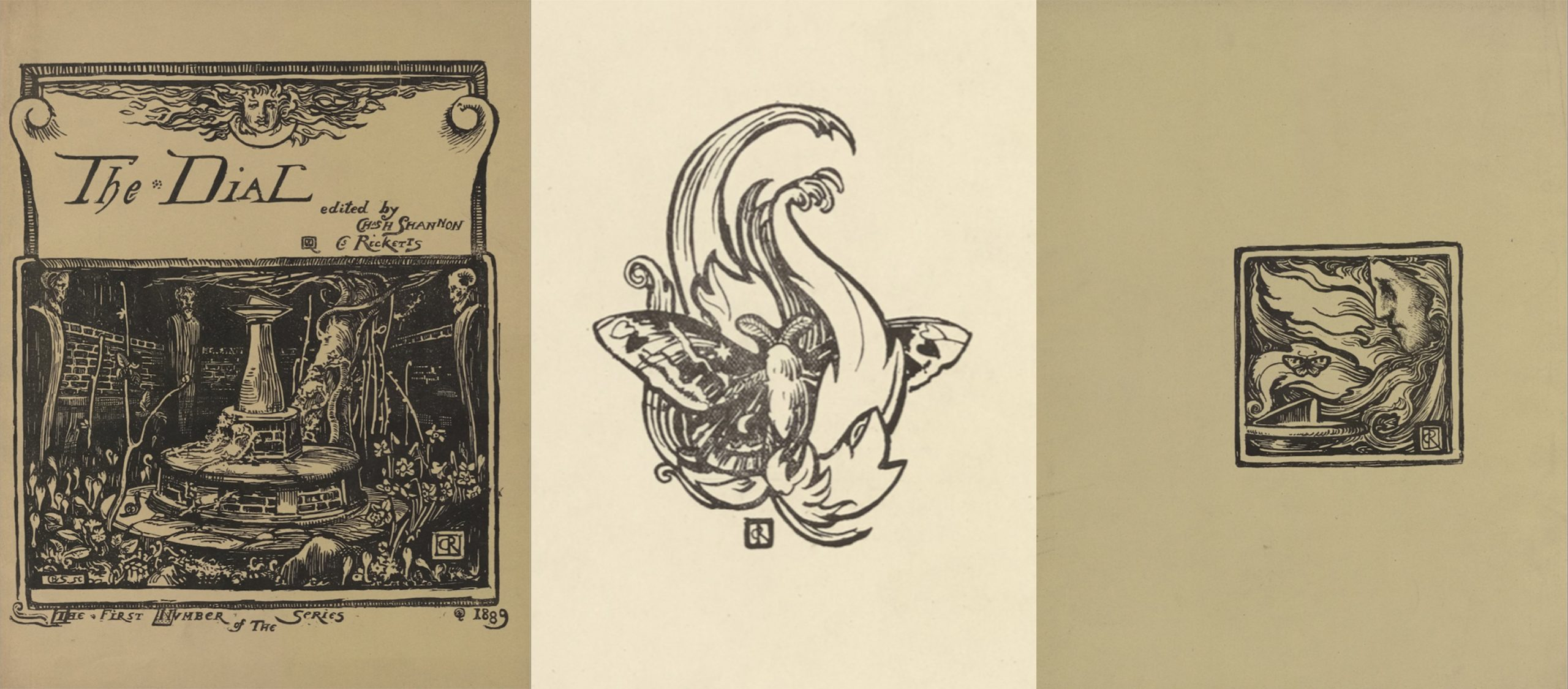 Figure 2. Left: Front Cover; Centre: flyleaf ornament; Right: Back                        Cover ornament