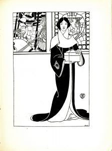 """Image is of a woman standing slightly right to the centre of the image. The woman is dressed in long black and white robes with an embroidered sleeve. The robes reach up and wrap loosely around her neck. Her dark hair is parted in the centre and tucks into her robes at her neck. In her hands she is holding a white box. Behind her are two windows, the left is open and the right is stained glass. The one on the left shows three male figures. The males appear to be soldiers, and each one is carrying a flag. The one flag that is visible depicts an image of a white boat on a black background. The stained-glass window on the right is a decorated piece with a stag inside of a shield. The stained-glass is contained within a border of circles. The author's initials are towards the bottom right corner of the image. """"Hare Sc"""" is in the bottom right corner. The image is vertically displayed."""