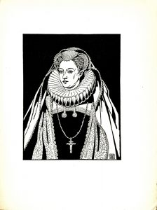 Image is of a female figure (Maria Regina Scotorum, Mary the Second of Scotts) centred in image. She is drawn against a black background. Her head is turned slightly to the side. She is dressed in regal clothing. She has a detailed veil on her head, as well as a ruffled collar. She has a long necklace with a crucifix around her neck. The artist's mark is in the lower-right corner of the image. The image is vertically displayed.