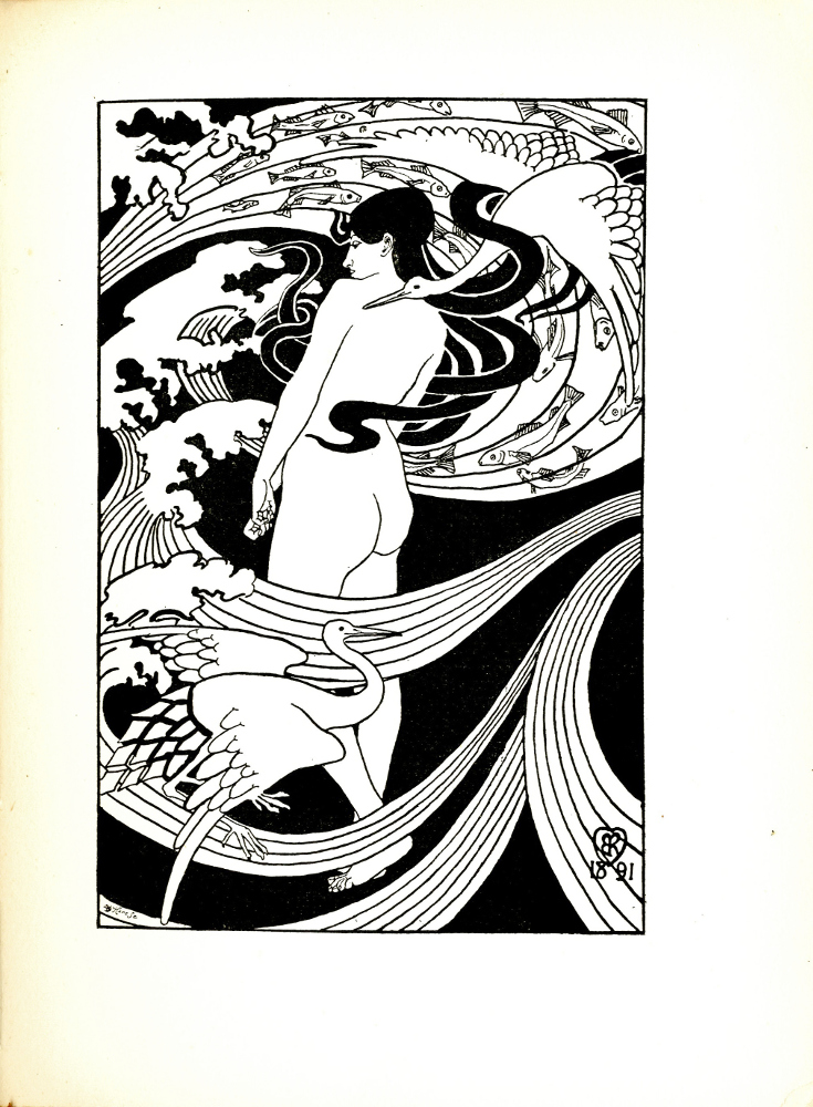 "Image is of a woman, nude standing in the centre of a mystical, whirling design of cranes, fish, and waves. We see her backside and her face, turned left, is visible over her shoulder and we see her looking downwards with a demure expression. Her long, dark hair is flowing and intertwined with the natural elements around her. There are waves and wind flowing throughout the image, with fish within the waves in the upper half. There are two cranes, the first is in the lower-left corner. The second crane is in the upper-right corner, which is wrapped in her hair. Her hands form soft fists held in front of her and while her right foot is planted on the ground, the heel of her left foot is slightly raised, suggesting movement. The image reproducer's signature, ""Hare Sc"" is in the lower-left corner. The author's signature, ""RB"" is in the lower-right corner, along with the date ""1891."" The image is vertically displayed within a distinct, black bounding box. There are Japanese influences."