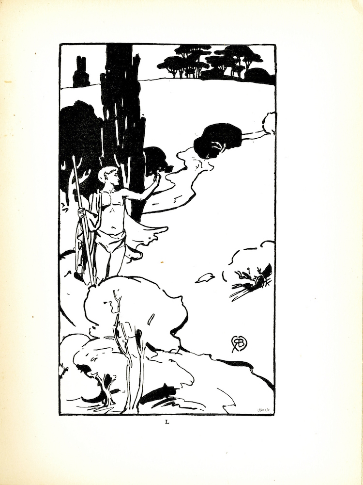 On the left side of the middle ground stands a male figure wearing a loin cloth and a cape. He looks out over a river with one arm raised. The opposite hand is holding a staff that is taller than he is. He is standing by a tree. Immediately behind him are bushes and a hill. At the top of the hill is a group of trees. In the foreground there are bushes and the bank of the river. In the bottom right hand corner of the image is the engravers mark and just above that is Robert Burns monogram.