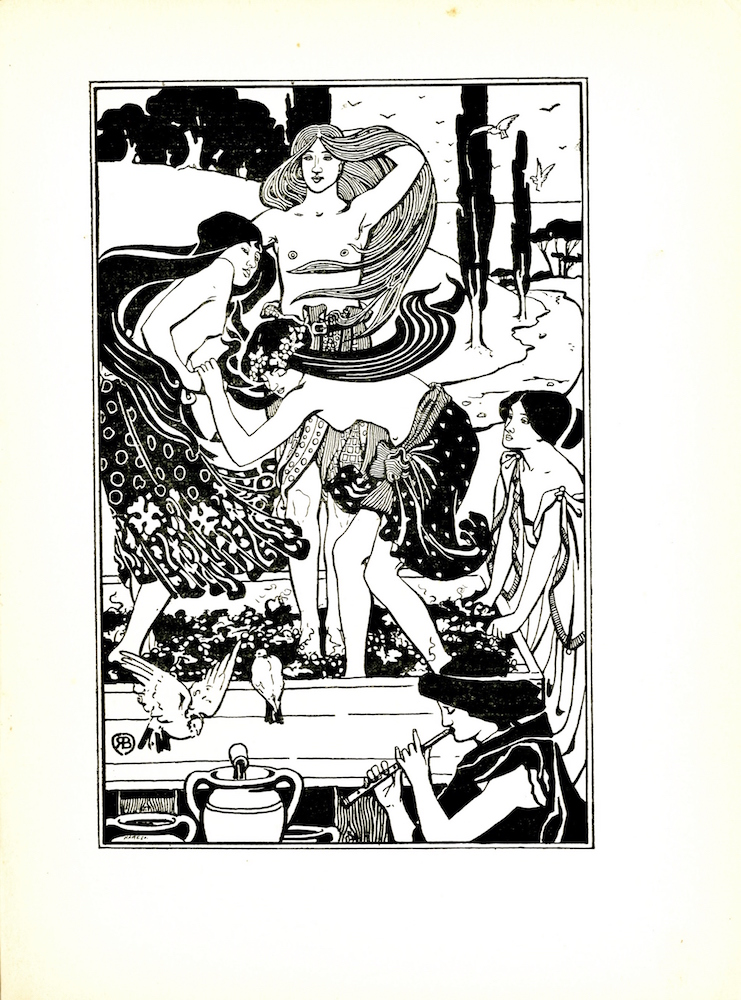 "The image is of five women. Three of the women are stomping on grapes in a through. These three women have long flowing hair; they are topless and are wearing knee-length skirts. A woman is standing outside on the right, looking towards the three women in the trough; her fingers are dipped into the trough full of grapes; she is wearing a chiton and her hair is in a chignon. A dove is pictured perching on the front of the trough. A second dove is pictured on the left of the perched dove, and is mid-flight. A fifth woman is located in the bottom-right corner of the image. She is playing a flute; her clothing is dark and her hair is in a chignon. Three pithoi jars are on the bottom-left of the image. One of which is located underneath a tap that is expelling the liquid from the vat into the jar. In the background, there is a small hill with trees near its peak. At the bottom of the hill, there is a stream with several trees scattered alongside the water. Numerous birds are pictured flying in the distance. The artist's mark is in the lower left corner of the image: the initials ""R B"" inside a circle. The engraver's signature ""Hare Sc"" is in the lower left corner. The image is bound within a double-ruled border. The image is vertically displayed."