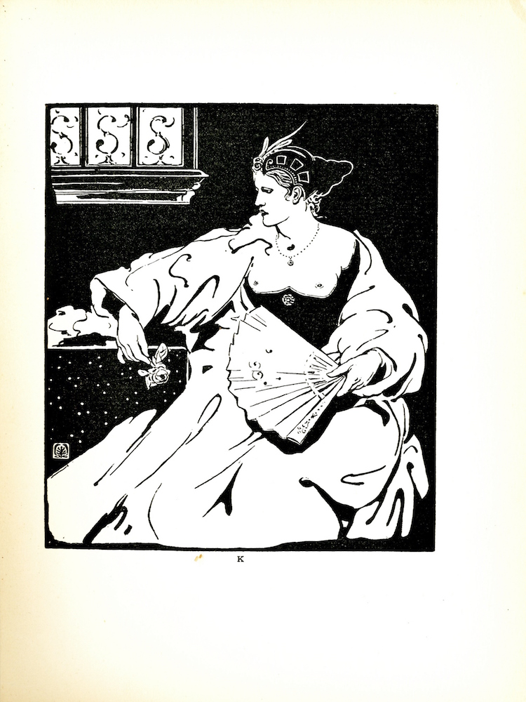 """Image is a portrait of a seated woman. The woman's body is facing forward while her head is turned to her right, so that her face is seen in profile. Her white, long sleeved robe covers the majority of her body, and the bagginess of the fabric conceals the woman's figure. The woman wears a black bodice (or corset) that covers her underbust, while her breasts and shoulders are exposed. She also wears a beaded necklace that has a small, circular pendant in the center. The woman holds a rose between the fingers of her right hand, which appear to be resting on a black table that is embellished with white dots. She has an open fan held in her left hand, which is positioned between her lap and torso. Her hair is arranged in a conical-shaped bun. The majority of her scalp is covered by an intricately designed headpiece: the front of the headpiece is arched with three long, slim feathers, and three square designs decorate the side of the headpiece. A three-paned window is located on the upper-left of the illustration. Each glass pane is decorated with an """"S"""" shaped design. The artist's mark (a tree surrounded by curved lines bound within a square) is in the lower-left corner of the image. The image is vertically displayed."""