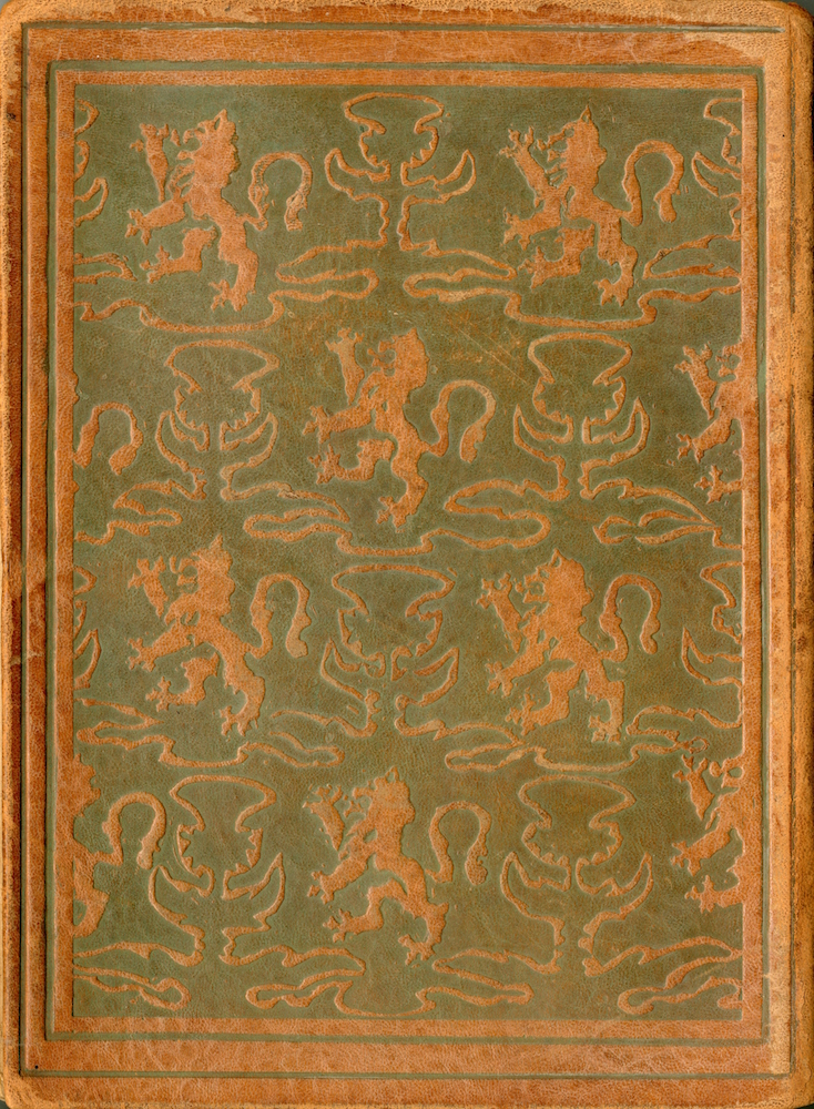 Brown leather extends from the front cover to the back cover. The entirety of the back cover is brown, with soft engravings of both a thistle, the national flower of Scotland, and a rampant lion, from the Royal Banner of Scotland. These icons are relatively similar in size and are displayed in a checkerboard pattern across majority the back cover. This pattern is outlined by an engraved frame of plain leather.