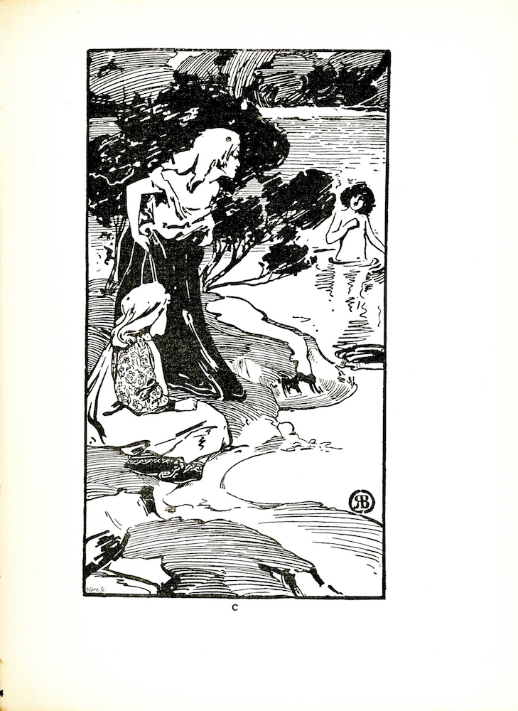 "Image is of a woman standing on the bank of a body of water with a person who appears to be a younger woman sitting down beside her. Both are looking out to the right of the image at a young person standing in the water, with a naked torso.. The woman standing on the bank has long, light-coloured hair and is wearing a loose dress with a white top and a black skirt. She is leaning forward slightly and is using both hands to pull her skirts up, away from the water. The seated woman or girl has long light-coloured hair and is wearing a white smock with a decorative pattern along the hem and flower patterned sleeves. She is turned towards the bather. Only the side of her face is visible. The bather in the water has thick dark hair. They are standing waist-deep in the water; the outline of the legs is faintly visible below the surface. The bather's torso is above the water and their left hand is in a fist over the chest. The bather's head is tilted slightly to the right. On the shore, behind the two figures, there is a single tree. Along the top of the image, foliage visible along a far shore. The artist's mark is in the lower-right hand side of the image. In the lower left corner is the engraver's name ""Hare Sc."" The image is vertically displayed with a black border."