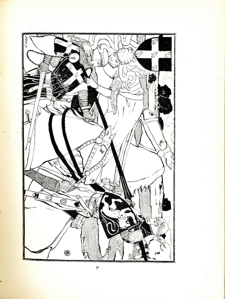 Image is of two knights on white horses with shields and lances facing each other. Both horses appear to be in motion. The knight on the left is leaning back with a broken lance and the knight on the right is pointing a lance at the other knight s chest. A third figure a woman in a long white robe is floating on her side above the knight with the broken lance. One of her arm and her sleeves are adorned with an intricate pattern. The knight on the left is wearing a black robe with a white heraldic cross on the chest and another across the arm. These crosses each have a pattern of five birds one at each arm of the cross and one in the center. The knight is also wearing a loose belt gauntlets and a helmet that shows his face. The knight on the right is wearing a white robe with greaves visible on his legs. He is carrying a shield with the image of a rampant lion. His sword sheathe is decorated with four heraldic devices In the top left corner there is a shield with five birds, the same insignia that is on the knight with the broken lance s robe. A winding river with decorative lines runs through the background and trees are visible towards the top of the image. The artist's mark 'RB' can be found on the bottom right side of and the engraver s signature Hare Sc can be found on the bottom left corner of the image. The image is horizontally positioned with a black border.