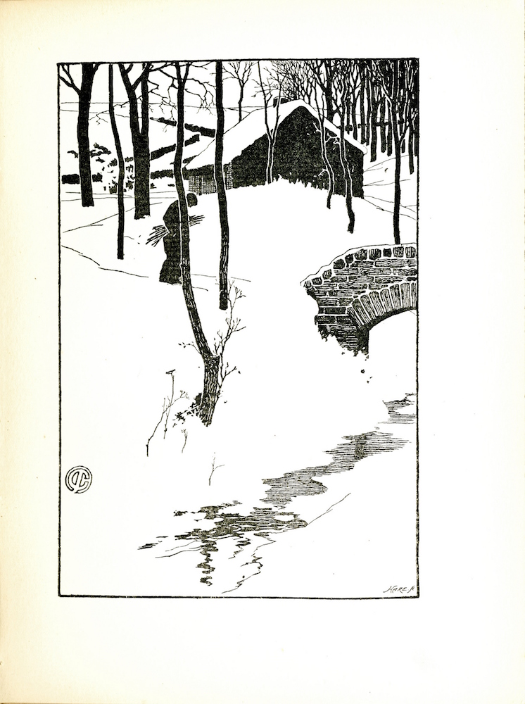 Image is of a figure in a winter scene who is hunched over and holding a bundle of kindling. The figure is partially obscured by a single tree surrounded by a few sparse shrubs. Thin bare trees sparsely populate the foreground of the image and become denser in the background towards the top right corner. In the foreground of the image there is a creek indicated by thin horizontal black lines. A brick bridge is visible on the center right of the image extending over the creek. Behind the figure is a small cottage with snow on its roof and a chimney at the top. Behind the house in the background, is a winding wall that separates the forested area from an open field. The image is rendered in thick black ink with significant white space indicating snow and the sky. The engraver s mark Hare Sc can be found in the bottom right corner of the image. The artist s mark a C with a line through the center can be found on the left side of the image. The image is vertically positioned with a black border.