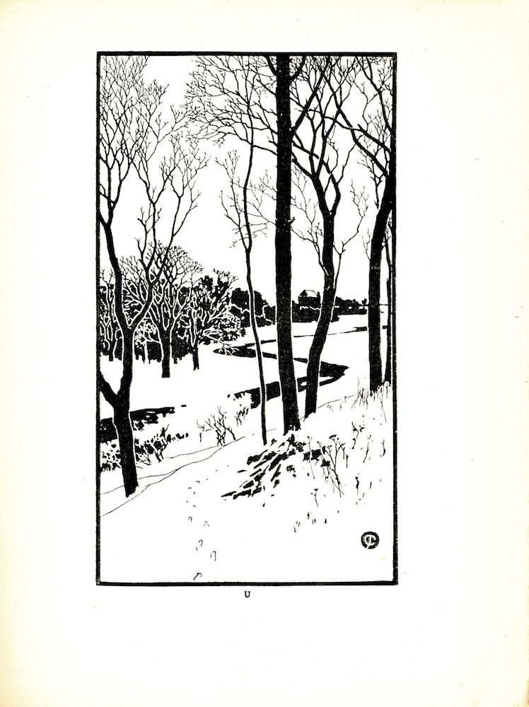Image is of a creek or river running through a cluster of trees in a winter landscape. The trees in the foreground are sparse and shrubs covered with snow are visible. The trees in the foreground are on a slight hill. Small footprints can be seen in the snow from the center right hand side of the image moving towards the right disappearing behind some elevated ground. Across the river the trees appear to be denser. A few are visible in the foreground with a dark mass in the background indicating a forest. In the background on the right a structure that appears to be a barn or house is visible. The artist s mark can be found in the bottom right corner of the image. The image is vertically positioned with a black border.