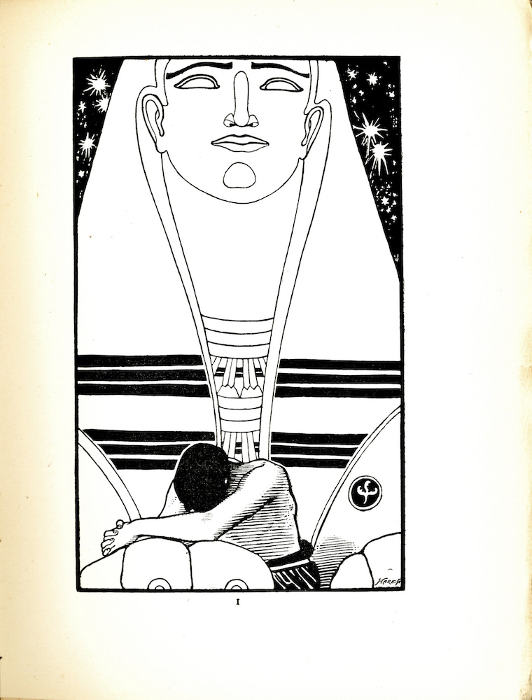 """Image is of a figure who is hunched over with his head down and his arm resting on the paw of a giant sphinx who towers over him. The sphinx's face and headdress take up the majority of the picture space. The sphinx's gaze is directed into the distance. Its eyes have no pupils and its nose eyebrows mouth ears and chin are drawn with clean simple lines. A pattern of six thick black lines decorate the bottom of the sphinx's headdress. The figure beneath the sphinx has dark hair The figures hands are clasped together in front of him. His chest is bare but a garment is visible around his waist Behind the sphinx exaggeratedly large stars are visible in the night sky. The artists mark can be found on the lower right side of the image and the engraver's signature Hare Sc is visible below it in the bottom right corner. Under the poem's title on the previous page there is an epigraph from the book of Job which reads """"As the waters fail from the sea and the flood decyeth and drieth up So Man lieth down and riseth not Till the heavens be no more"""""""