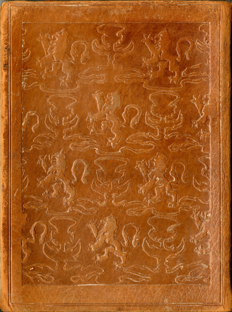 Brown leather extends from the front cover to the back cover. The entirety of the back cover is brown, with soft engravings of both a thistle, the national flower of Scotland, and a rampant lion, from the Royal Banner of Scotland. These icons are relatively similar in size and are displayed in a checkerboard pattern across majority the back cover. This pattern is outlined by an embossed frame of plain leather.
