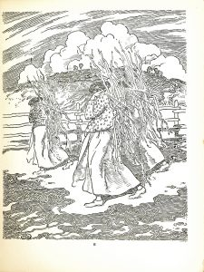 """In this image there are three women dressed and positioned similarly, with one in the foreground and two directly behind her. They are all wearing light colored, ankle length skirts, long sleeve patterned tops, and light colored shoes. On their back they each carry a bundle of sticks. They are walking towards the left side of the page and are looking towards the ground, their faces are not visible. Middle ground there is a fence separating the women from a grassy hill. Coming over the hill are some clouds in the sky. In the bottom right hand corner is the engravers mark """"HareSC"""" and in the bottom left corner is the artists monogram."""