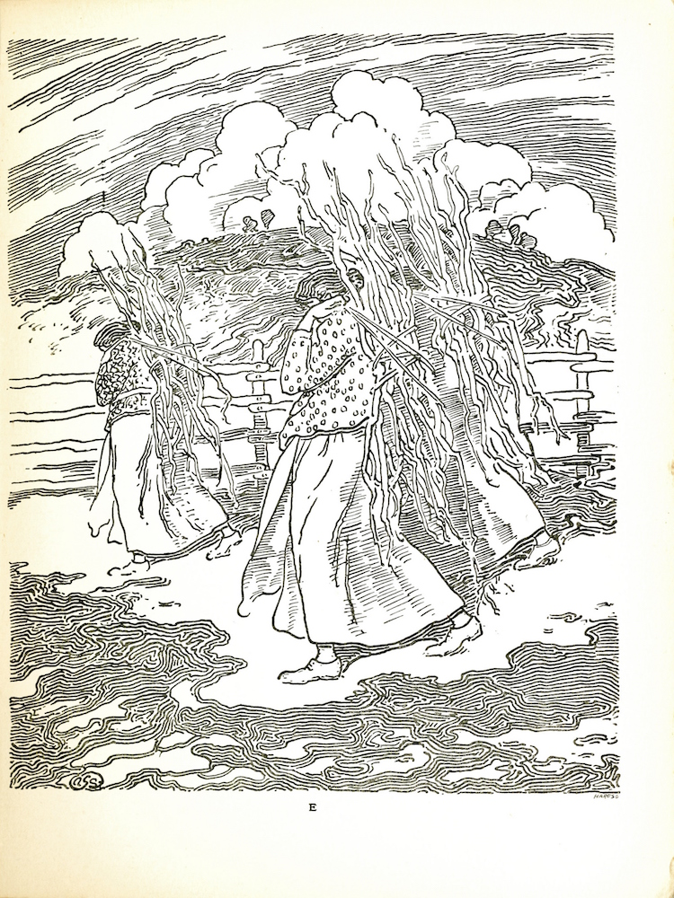 "In this image there are three women dressed and positioned similarly, with one in the foreground and two directly behind her. They are all wearing light colored, ankle length skirts, long sleeve patterned tops, and light colored shoes. On their back they each carry a bundle of sticks. They are walking towards the left side of the page and are looking towards the ground, their faces are not visible. Middle ground there is a fence separating the women from a grassy hill. Coming over the hill are some clouds in the sky. In the bottom right hand corner is the engravers mark ""HareSC"" and in the bottom left corner is the artists monogram."