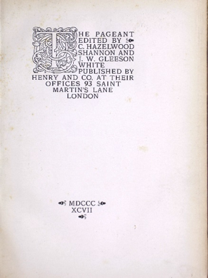 Figure 3 The Pageant Volume 2 Title Page.