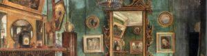 Painting of Dante Gabriel Rossetti's drarwing room at 16 Cheyne Walk, London.