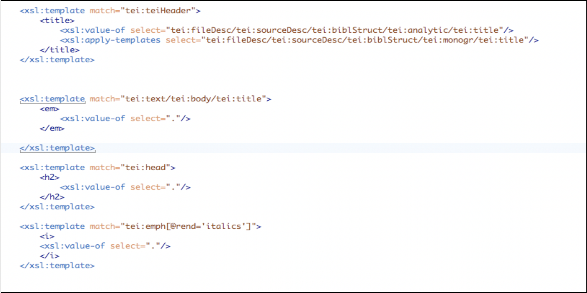 A Screen shot of the xslt used to transform xml into html.