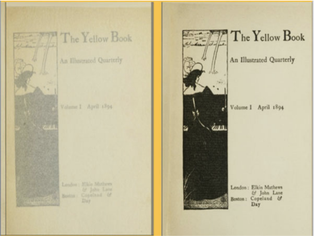 An image of the title page for volume 1. Onionskin page is shown on the left and the title page is shown on the right.