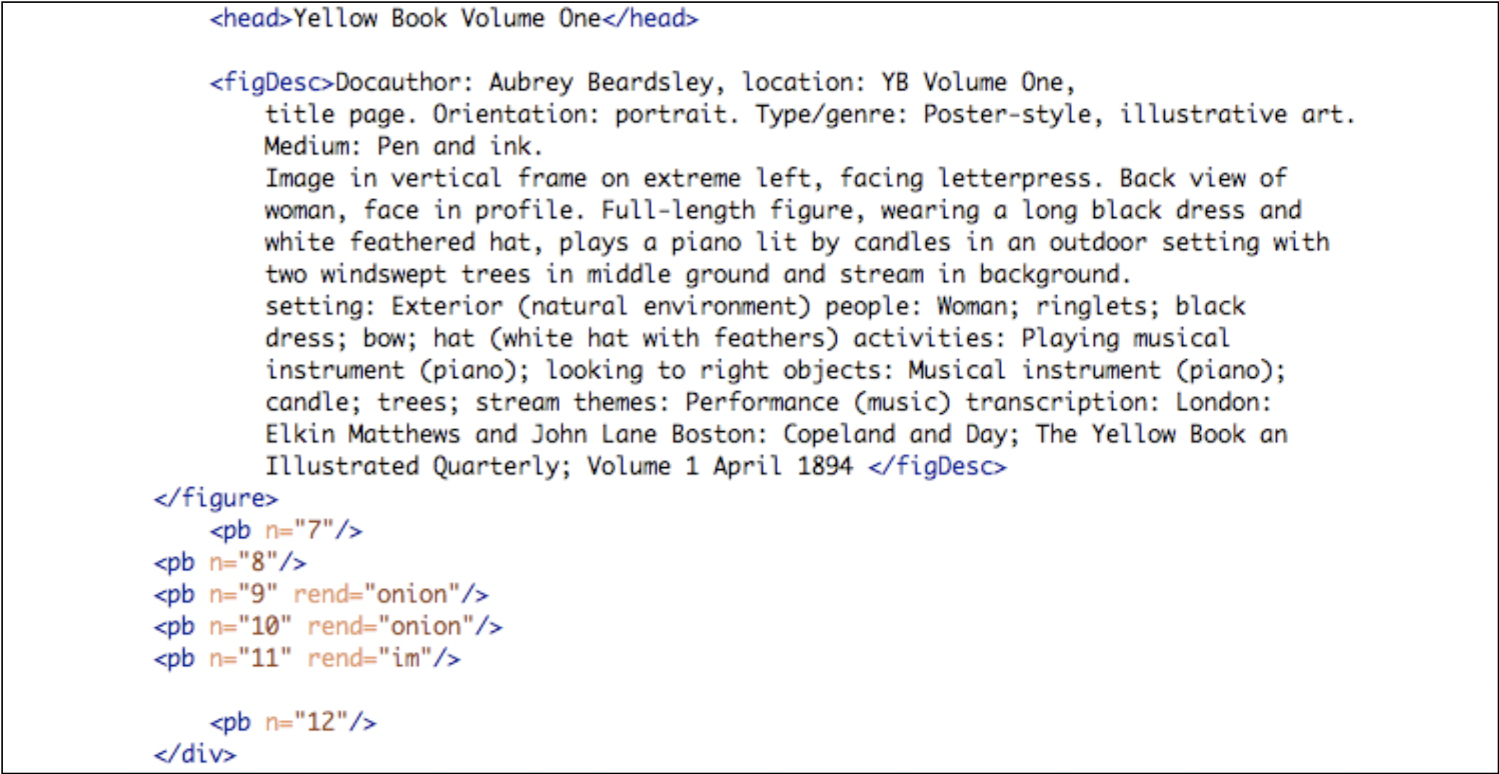 The xml version of the title page for volume 1, showing the onion page rendering.
