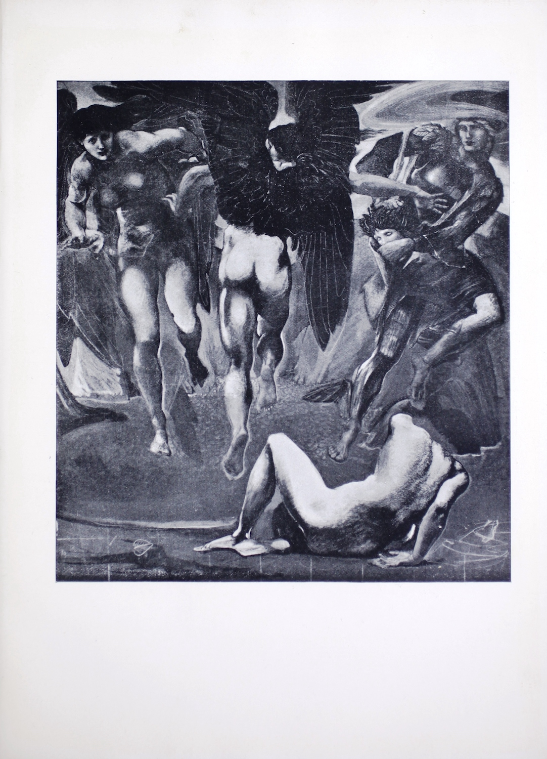 """Also known as """"The Death of Medusa II,"""" this painting, reproduced in halftone, is from a series of ten commissioned in 1875 by Sir Arthur Balfour for his music room. Displayed in portrait orientation, this image depicts the moment after Perseus cuts off the head of the Medusa. At the centre of the image is the back of one of Medusa's two winged sisters. We see her lower body and dark wings spread out as she takes flight to find her sister's murderer. At left is the second winged sister, facing the viewer and looking down at the ground at the headless corpse in the bottom right. Above the corpse is Perseus, wearing armour and his helmet of invisibility. A swirl of cloud surrounds his helmet as if to signify his invisibility. He is carrying Medusa's head and looks at the two sisters while leaping away from them and towards the right frame of the image. Occupying the extreme foreground in the bottom right half of the picture is the body of the Medusa, now headless, with its back to the viewer. Her left foot is flat to the ground; her leg is bent with its knee in the air. Her hip rests on the ground while her right arm has twisted behind her back, propping her upper body up on the back of her right hand and wrist. The left arm is not visible. The background for the lower half the image depicts a lake or pool of water in front of a range of large mountains."""