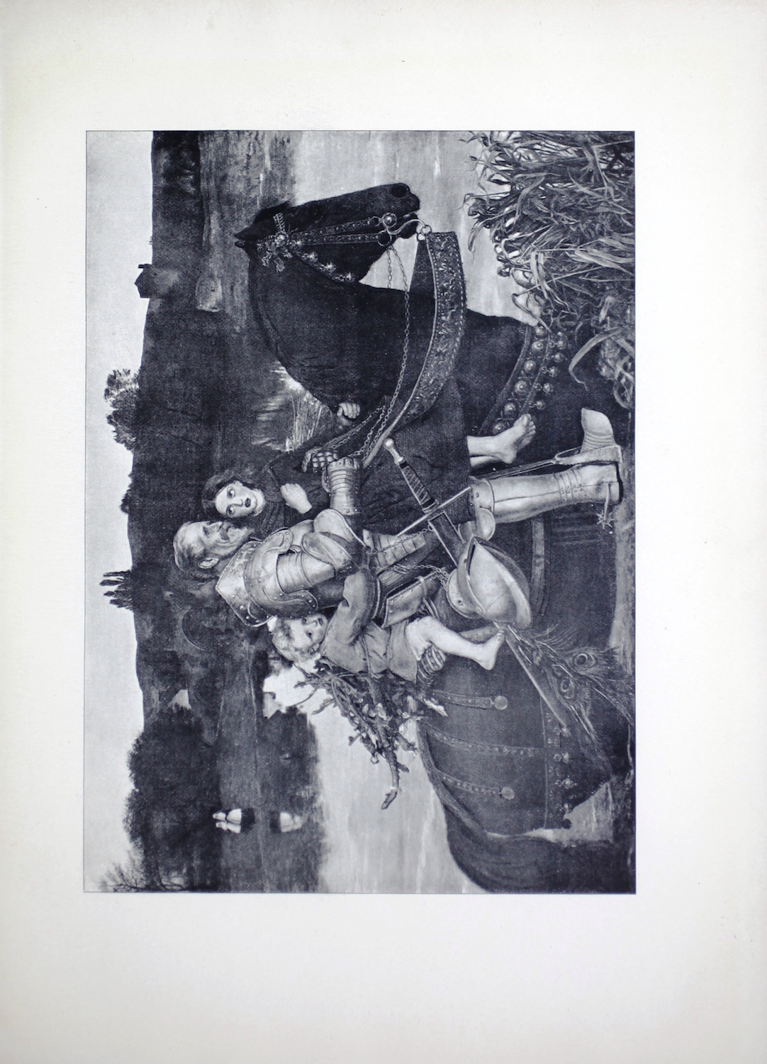 This half-tone reproduction of John Millais's 1854 oil painting is presented in reverse to the original, and is in landscape orientation. It depicts a knight, Sir Isumbras, modelled by Colonel Campbell, taking two children across a river on his horse. Because the image is reversed, they travel across the image from left to right. The knight is old with gray hair and a beard. He is wearing full-body armour, but his helmet hangs at his waist by his sword, with a peacock feather hanging from it. In his arms, the knight holds a girl child wearing a dress, clasping a shawl around her shoulders with her right hand. She holds onto the horse's main with her left hand. She is barefoot with her ankles crossed. She gazes up at the knight's face. Behind him, a small boy child, modeled by Millais's son, holds on with his arms around Sir Isumbras's waist. The boy wears a short tunic, and his trousers are rolled up over his knees. He sits on a pillow and his bare right leg is visible to the viewer. The boy carries a bundle of branches tied to his back and he gazes directly at the viewer. All three figures sit on top of a black steed that is ornately harnessed in leather and gold. The horse is walking in the river with water up to its chest. There are reeds in front of the horse in the right foreground of the image. Perspective allows the viewer to see both banks of the river in the distance. There are two women, who appear to be nuns, walking along the far bank, facing the viewer. Their images are reflected in the water. In the central distance there is an arched stone bridge, and in the right-hand side of the image is a large building, possibly a castle. Dense woods surround the buildings in the background.
