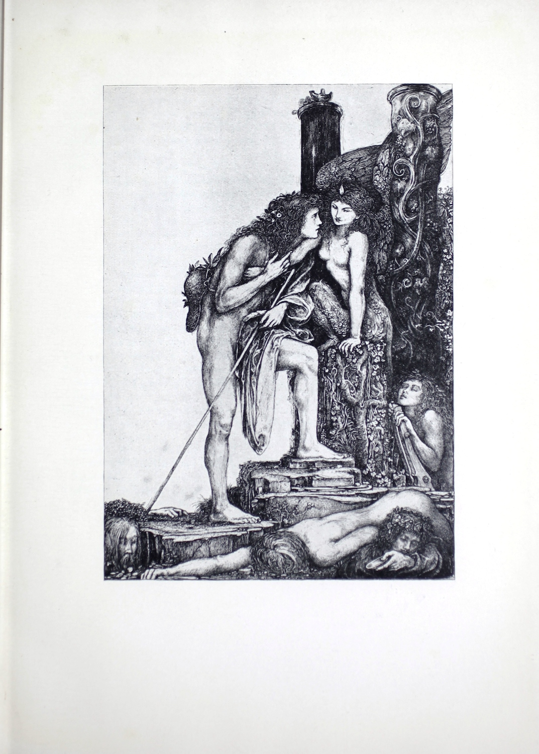 Ricketts' reproduced pen drawing portrays the ancient Greek myth of Oedipus and the Sphinx. In the image, Oedipus is leaning in toward the Sphinx to answer her question. The dead bodies scattered on the ground suggest that other men have tried and failed her test. Oedipus stands naked, in three-quarter profile facing the right. He has long tangled hair and there are a couple of small flowers in the tangles. His right leg is straight, and his left leg is bent as he is on steps and bends forward to speak to the Sphinx. On his lap rests his unworn robe and his staff, loosely held up by his left hand. A hat hangs down his back from a string around his neck. Facing Oedipus is the Sphinx, which has a female human upper body and the lower body of a lion. She also has large wings on her back. She is in three-quarter profile facing left and sits on a pillar which looks like it is carved from a tree stump and covered in vines. Her eyes look down, suggesting that she is listening to Oedipus speak. She is surrounded by two large pillars with vines crawling up their length. The pillar furthest from the viewer has a small smoking lamp resting on the top. The top of the pillar closest to the viewer cannot be seen. Behind the Sphinx, a woman is emerging from underground, climbing a ladder. Her hair is loose, her eyes closed, and her left arm and hand are visible to the viewer. Her head is turned up to the sky. This woman may represent Jocasta, the widowed queen whom Oedipus marries and discovers later is his own mother. The background sky of the image is empty, drawing the viewers' eyes to the ground where, around Oedipus's feet, we see three dead bodies of men who failed the Sphinx's test.