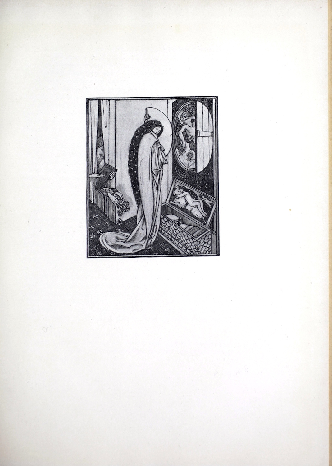 The small black-and-white image is centred on the page, framed by a double rule. The scene depicts a woman, the goddess Psyche, standing in a bedroom; behind her is a bedstead with hanging curtains, and in front of her is an open circular window, through which she can see a sleeping man carried by a flying eagle. She is clutching the window shutter with her eyes closed, and her head is tilted down, away from the image of the man. At Psyche's feet is an open trunk, filled with small objects. The inside lid of the truck features the image of a nude woman lying on her back on top of a white bull, with Cupid flying above her bent knees. This may reference the myth of Europa being abducted by Zeus in the form of a bull. Psyche's hair is long and has flowers in it. She wears a long robe the flows onto the tiled floor. Behind her two pairs of hands appear. One plays a small stringed instrument (possibly a lyre) and the other pours roses onto the floor by Psyche's feet. Both pairs of hands emerge from behind the bed curtains.