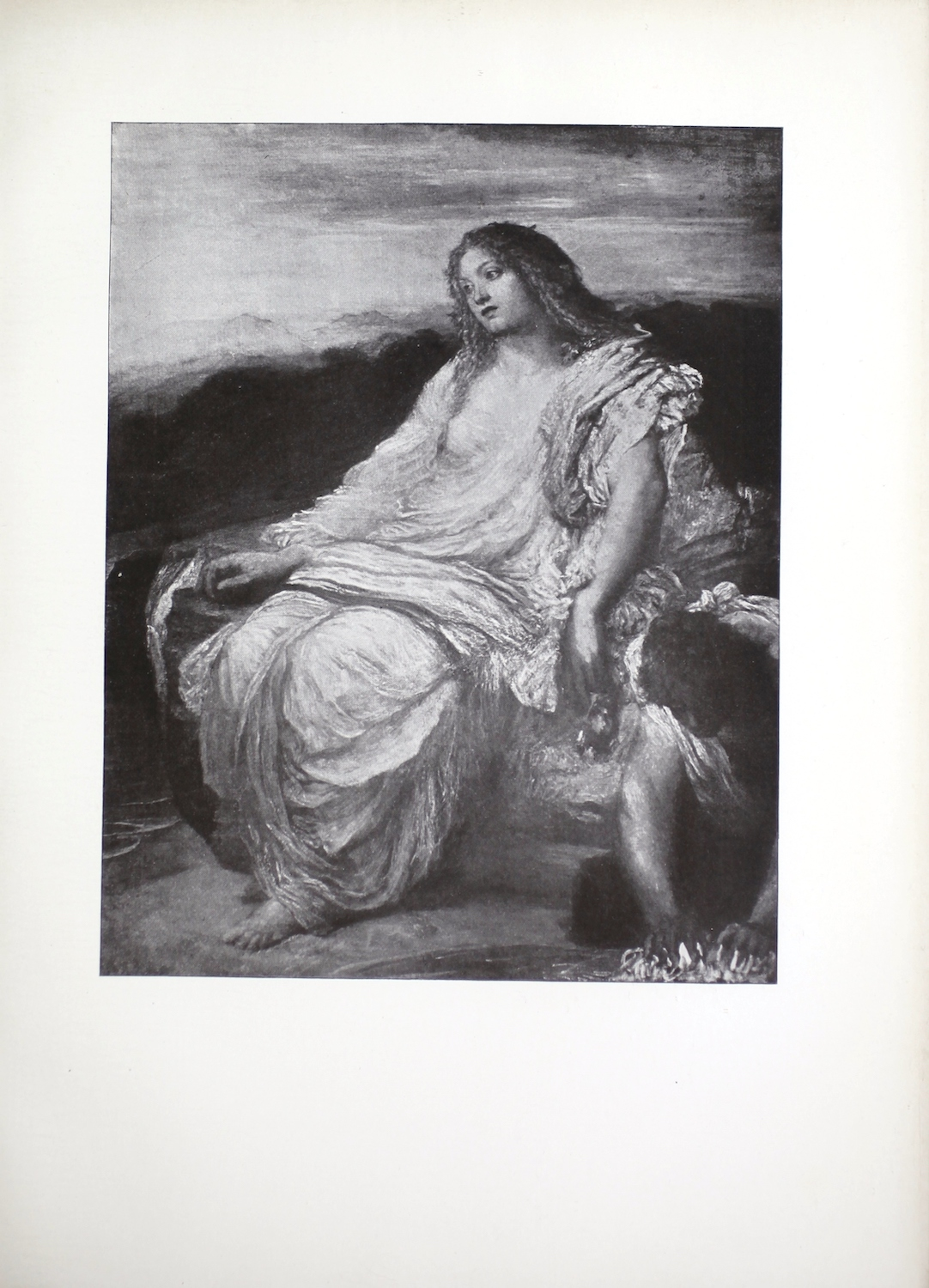 The halftone image depicts the mythological figure, Ariadne, looking out over the landscape that surrounds her. Ariadne sits in three-quarter profile facing left, on what appears to be a large rock. Her hair hangs loose, down to her shoulders. Her full-length dress is a series of loose robes that hang from her shoulders. Her left arm is exposed with the robe bundled up on her left shoulder. Her left hand hangs down by her side. Her right arm is covered by her robes and her right-hand rests on top of the rock. Her left foot is bare and exposed from underneath the hem of her robes. The ground appears to be a stone altar because it is smooth, and a male servant is depicted to left of Ariadne in the lower corner on his hands and knees scrubbing its surface. Only his upper body is visible. He gazes down and uses both hands to scrub the floor. Behind the two figures, a distant landscape is visible beneath Ariadne, suggesting that she is sitting on top of a mountain. Additional mountains are visible in the background rising to the height of Ariadne's eyes. In front of the mountains, a dark tree line is visible rising to Ariadne's shoulders. Above the trees and mountains, a cloudy sky is depicted.